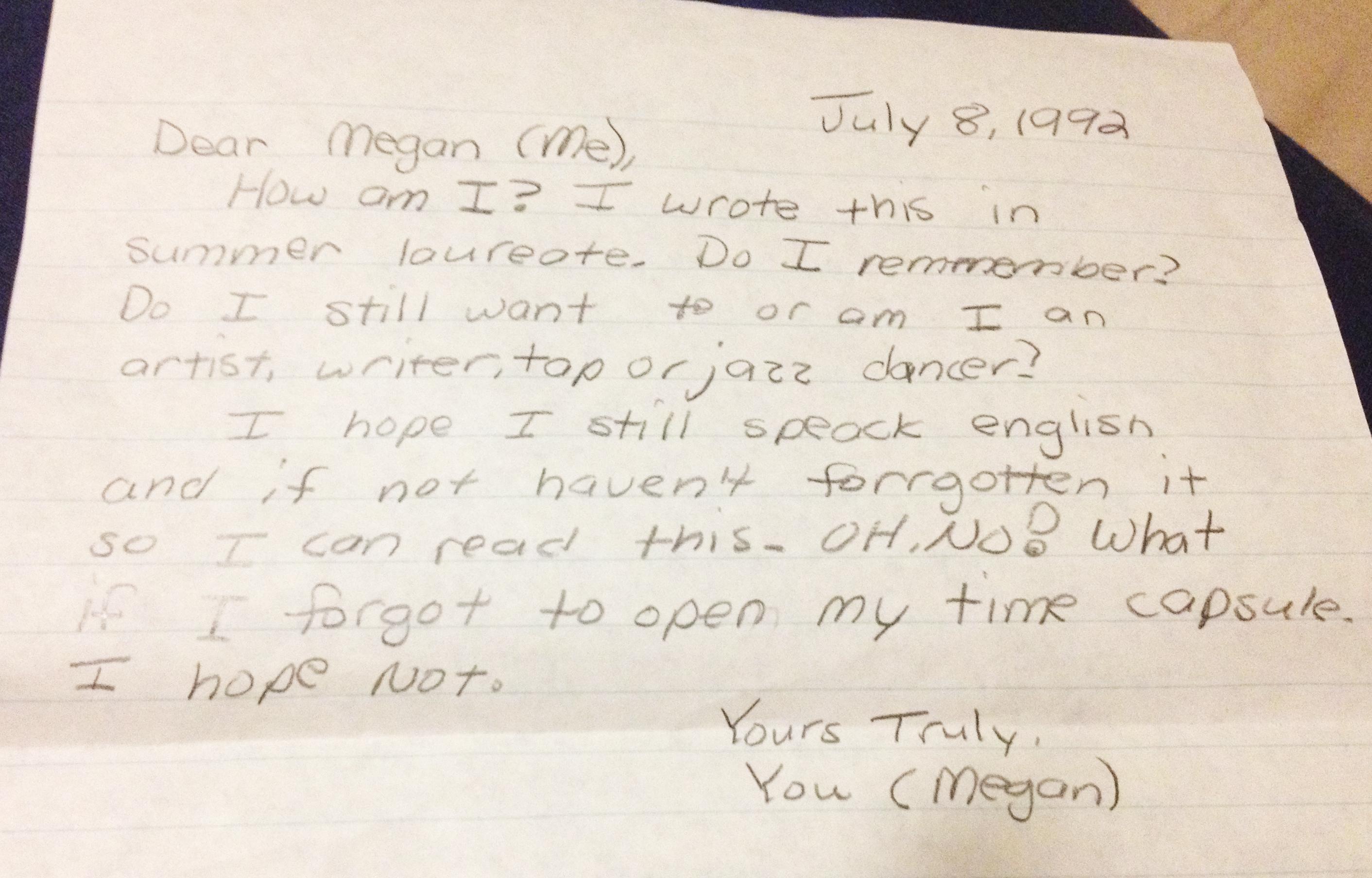 Sample Time Capsule Letter to Stranger forecasting